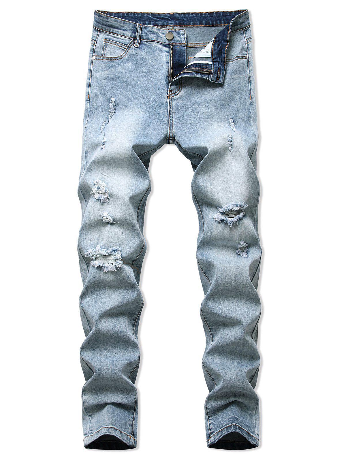 Fancy Destroyed Light Wash Tapered Casual Jeans