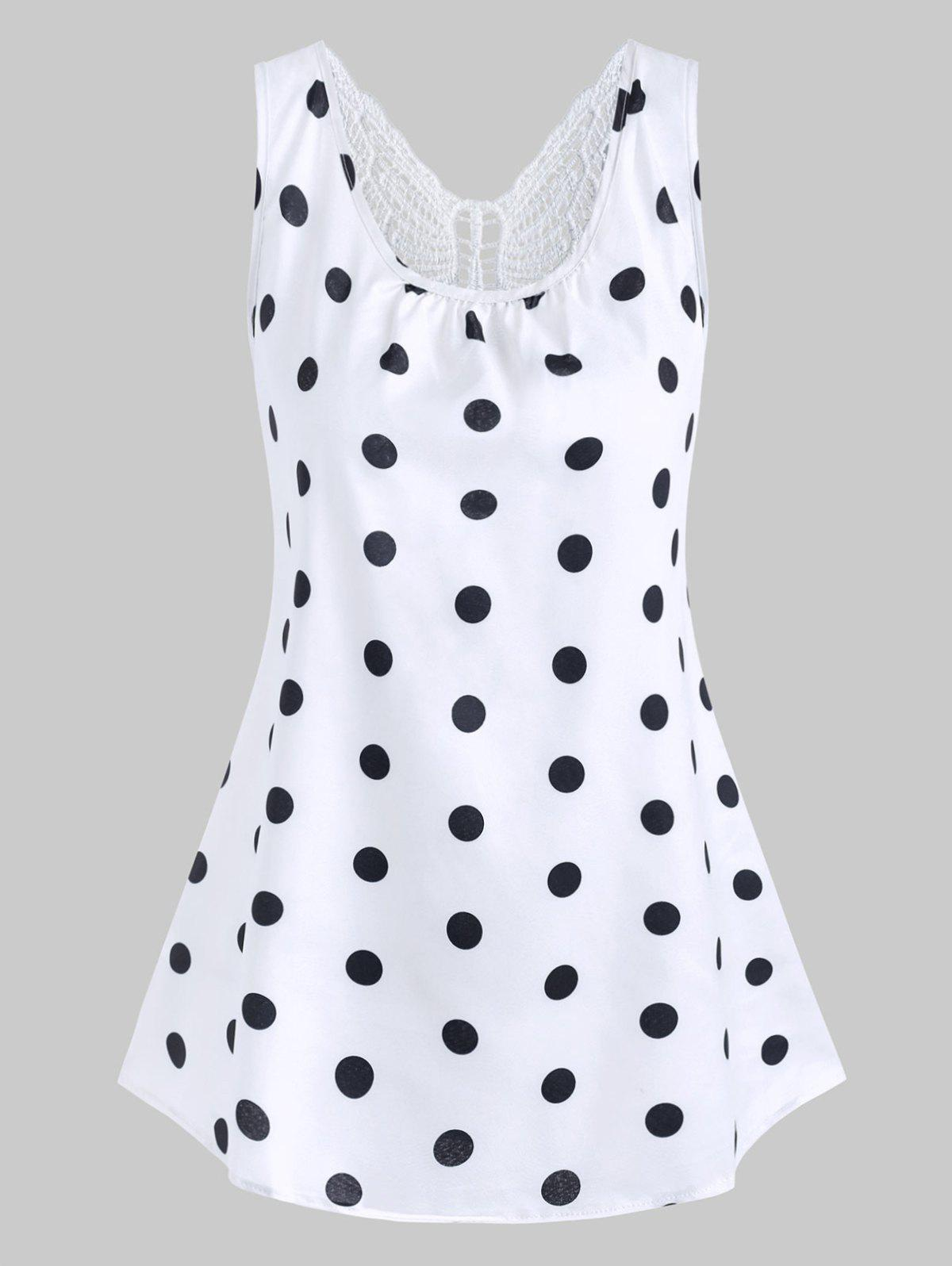 New Plus Size Lace Butterfly Polka Dot Tank Top