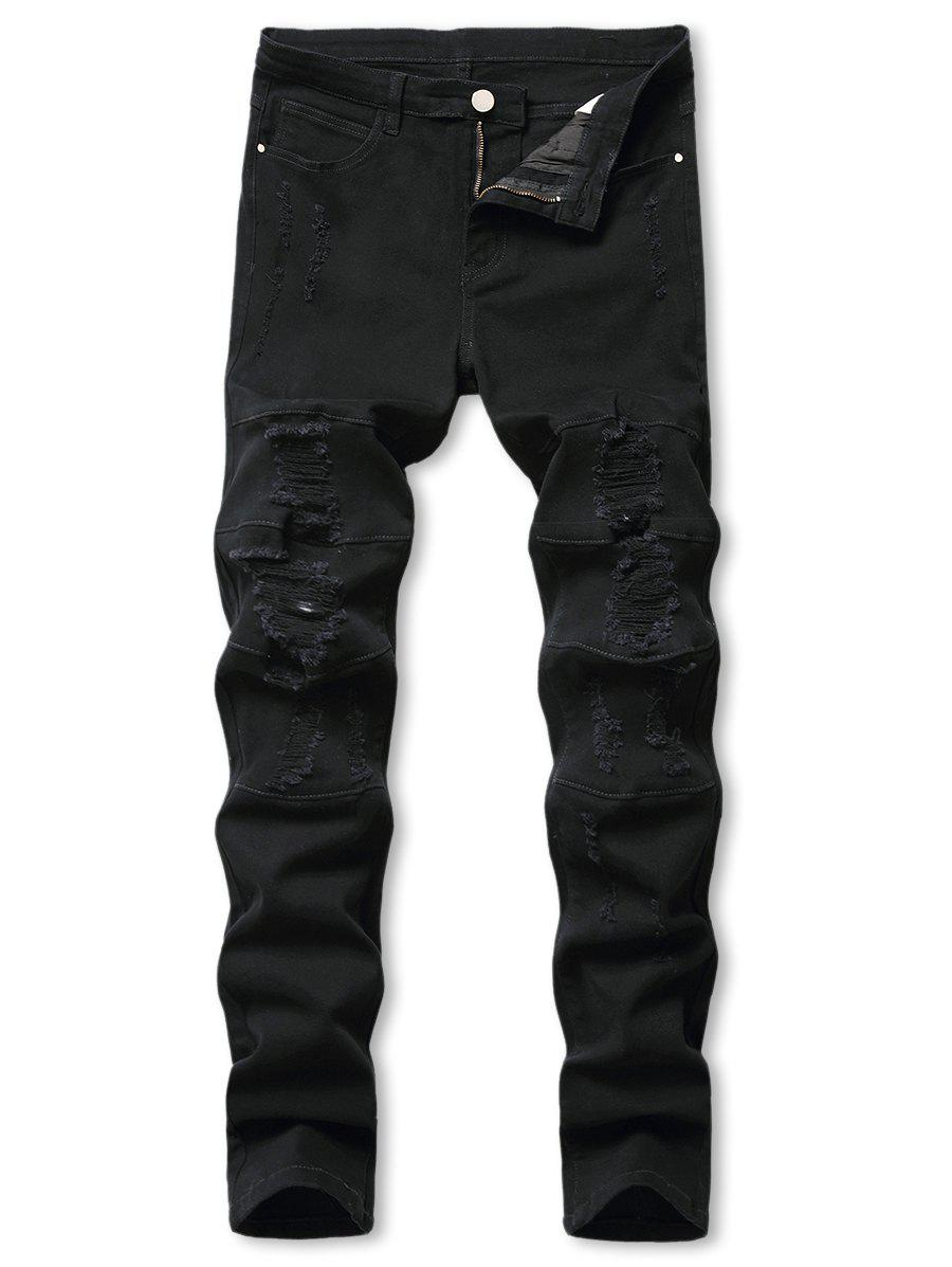 Mid-rise Distressed Tapered Jeans