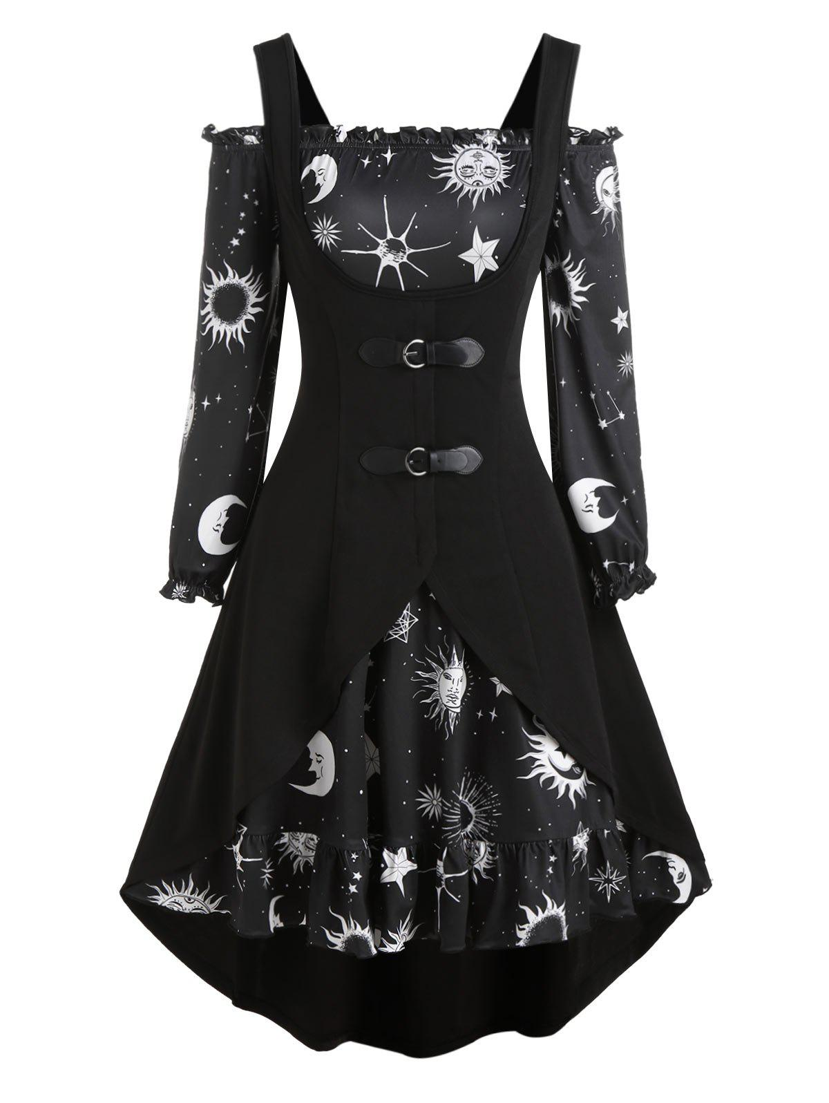 Affordable Sun Moon Star Print Mini Dress and Buckle High Low Vest