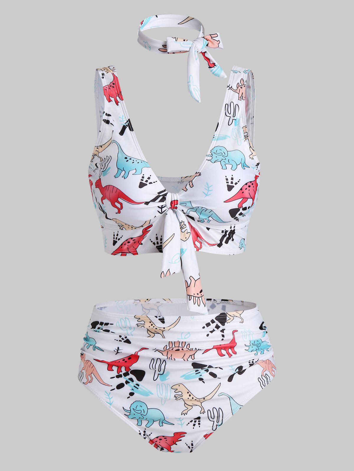 Unique Cartoon Dinosaur Print Padded Knotted Bikini Set
