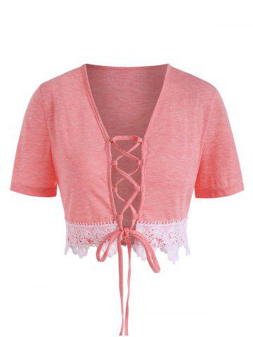 Plus Size Laciness Lace Up Crop Tee - LIGHT PINK - 1X