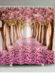 Blooming Cherry Flower Trees Pathway Print Shower Curtain -