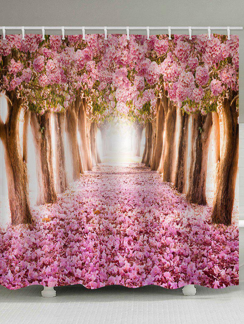 Store Blooming Cherry Flower Trees Pathway Print Shower Curtain