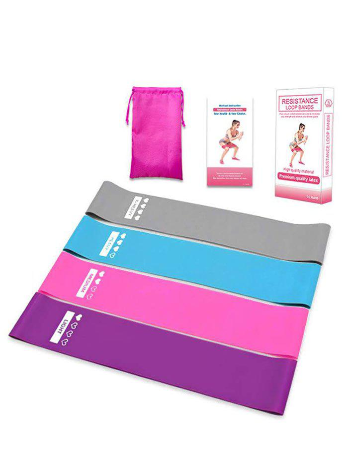 Shop 4Pcs Silicone Yoga Fitness Tensile Resistance Loop Band