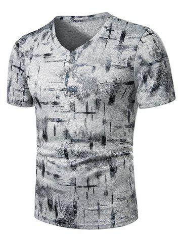 V Neck Paint Brush Print Short Sleeve T Shirt