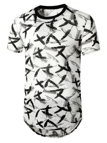 Feather Letter Print Semi Sheer Longline T Shirt - WHITE - 2XL