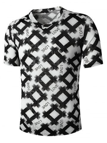 V Neck Letter Rhombus Print Semi Sheer T Shirt - BLACK - XL