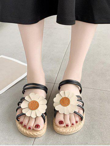 Sunflower Convertible Strap Flat Sandals - BLACK - EU 40