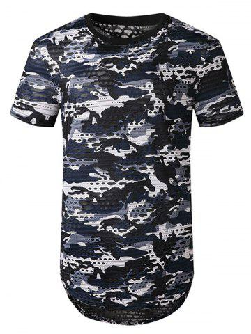 Camouflage Print Mesh Patch Hole Curved T Shirt