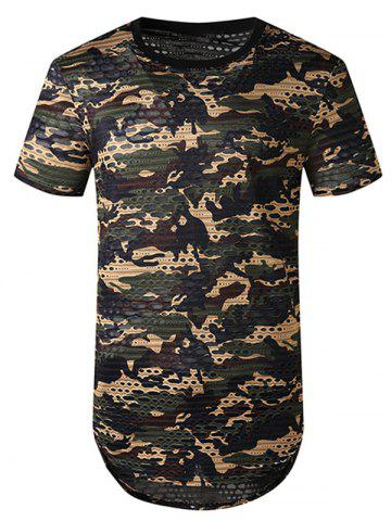 Camouflage Print Mesh Patch Hole Curved T Shirt - GREEN - S