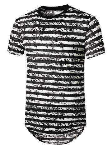 Striped Semi Sheer Longline Curved T Shirt - BLACK - M