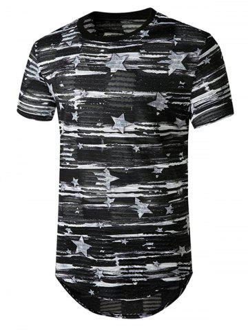 Star Print Sheer Patch Hole Longline Curved T Shirt