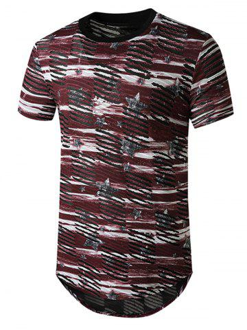 Star Print Sheer Patch Hole Longline Curved T Shirt - RED - XL