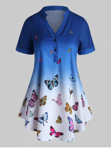Plus Size Ombre Butterfly Print Rolled Cuff Henley Blouse - BLUE - 5X