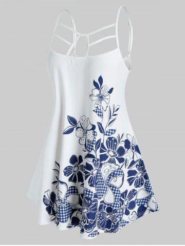 Plus Size Flower Caged Cutout Backless Tunic Cami Top - WHITE - 4X