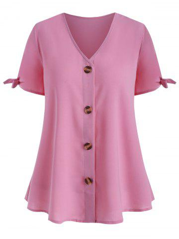 V Neck Button Up Tie Sleeve Plus Size Blouse