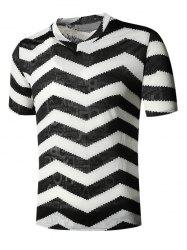Letter Chevron Print V Neck Semi Sheer T Shirt -