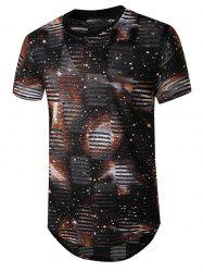 Starry Print Mesh Patch Hole Longline Curved T Shirt -