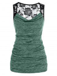 Plus Size Lace Sheer Yoke Draped Ruched Tank Top -