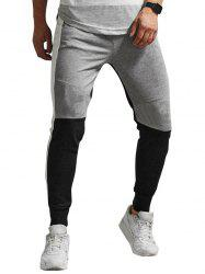 Colorblock Panel Elastic Waist Jogger Pants -