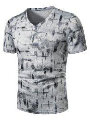 V Neck Paint Brush Print Short Sleeve T Shirt -