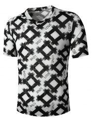 V Neck Letter Rhombus Print Semi Sheer T Shirt -