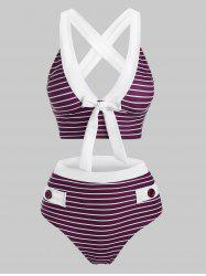 Striped Button Embellished Criss Cross Bowknot Tankini Swimwear -