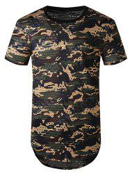 Camouflage Print Mesh Patch Hole Curved T Shirt -