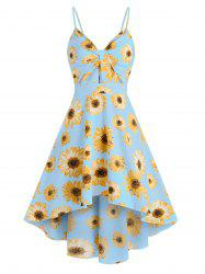 Spaghetti Strap Sunflower Print High Low Dress -