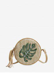 Pineapple Leaf Graphic Straw Round Crossbody Bag -