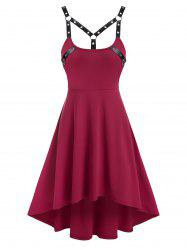 Sleeveless Harness Insert High Low Gothic Dress -
