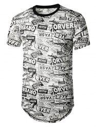 Newspaper Print Semi Sheer Longline Curved T Shirt -