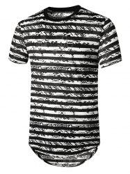 Striped Semi Sheer Longline Curved T Shirt -