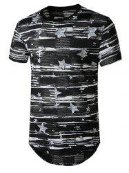 Star Print Sheer Patch Hole Longline Curved T Shirt -