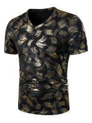 V Neck Gilding Print Short Sleeve T Shirt -