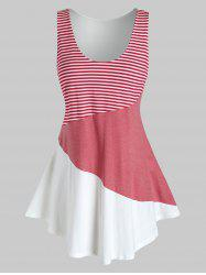 Plus Size Striped Color Blocking Contrast Tunic Tank Top -