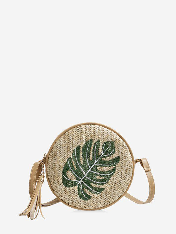 New Pineapple Leaf Graphic Straw Round Crossbody Bag