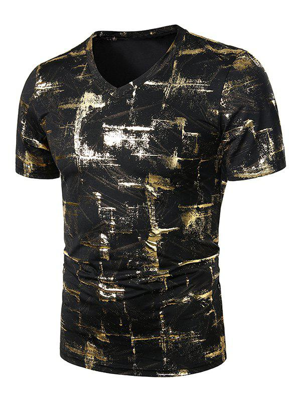 Outfit Casual Gliding Print V Neck T Shirt