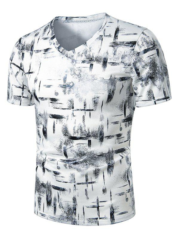 Discount V Neck Paint Brush Print Short Sleeve T Shirt