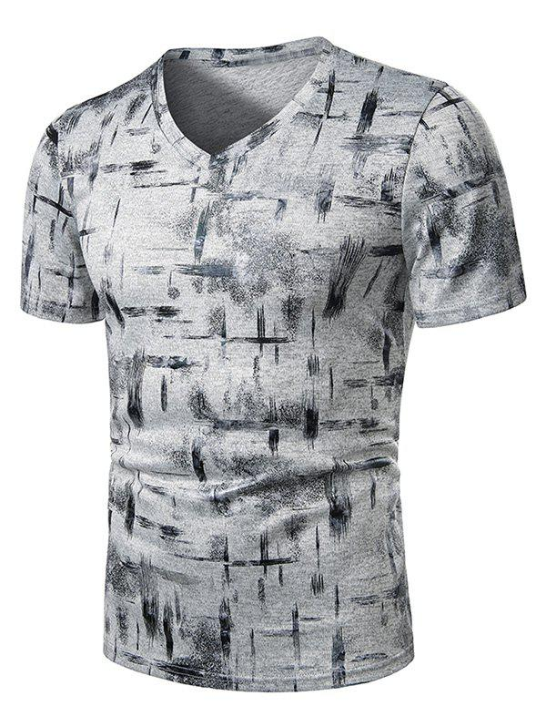 Cheap V Neck Paint Brush Print Short Sleeve T Shirt