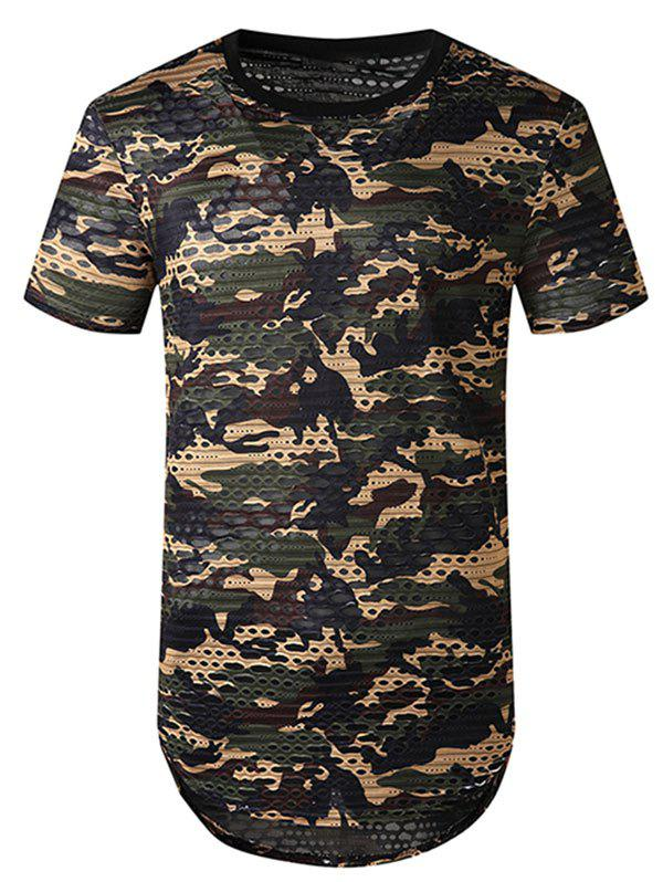 Outfit Camouflage Print Mesh Patch Hole Curved T Shirt