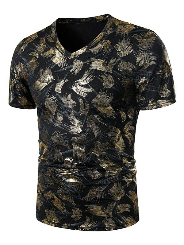 Store V Neck Gilding Print Short Sleeve T Shirt