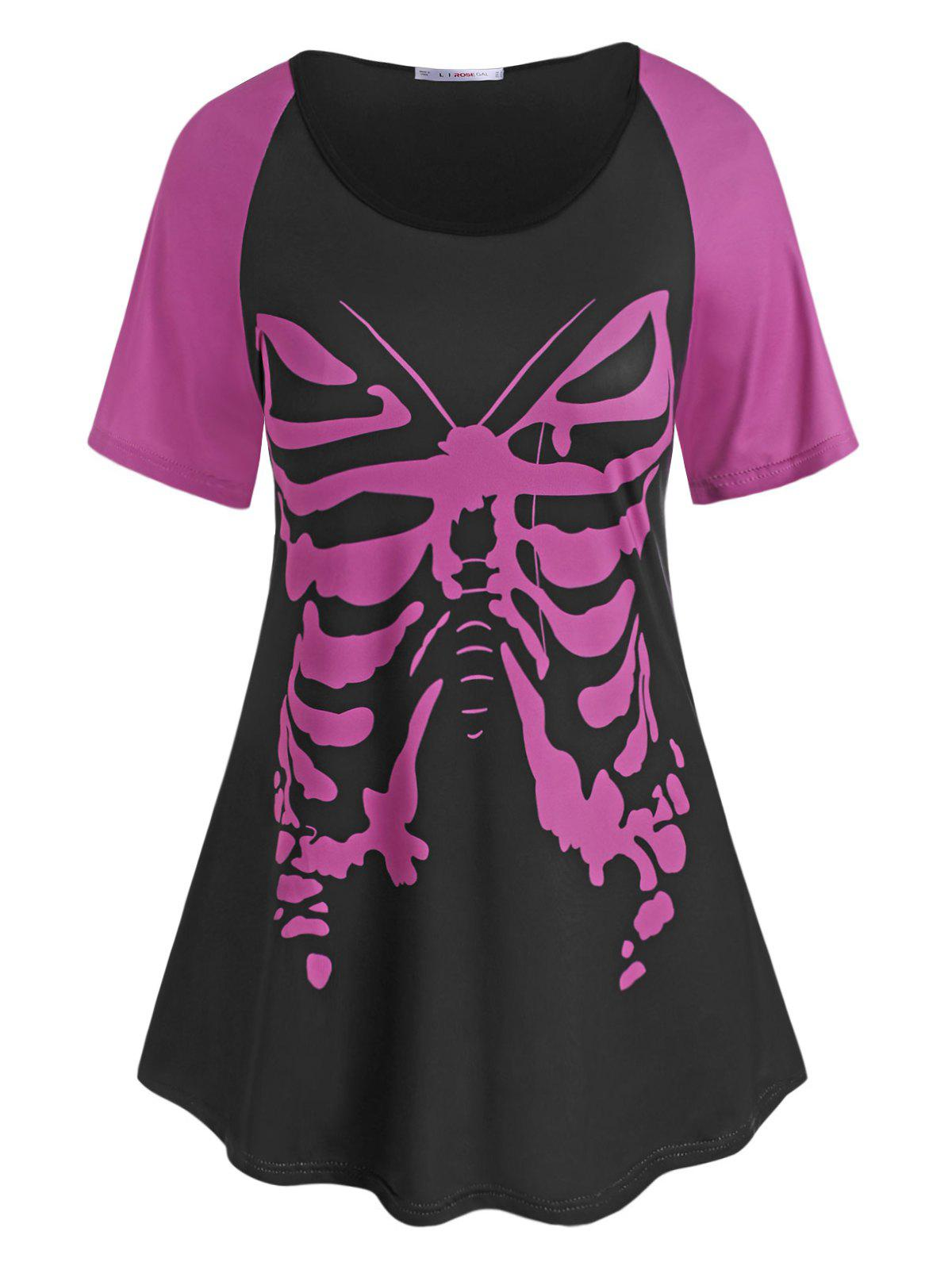 Plus Size Butterfly Print Raglan Sleeve T-shirt