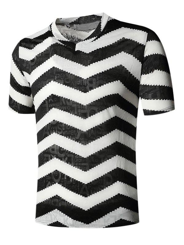 Discount Letter Chevron Print V Neck Semi Sheer T Shirt