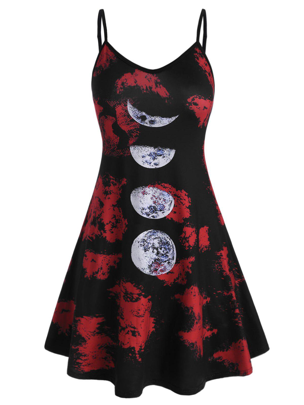 Plus Size Moon Phase Print Mini Sundress фото