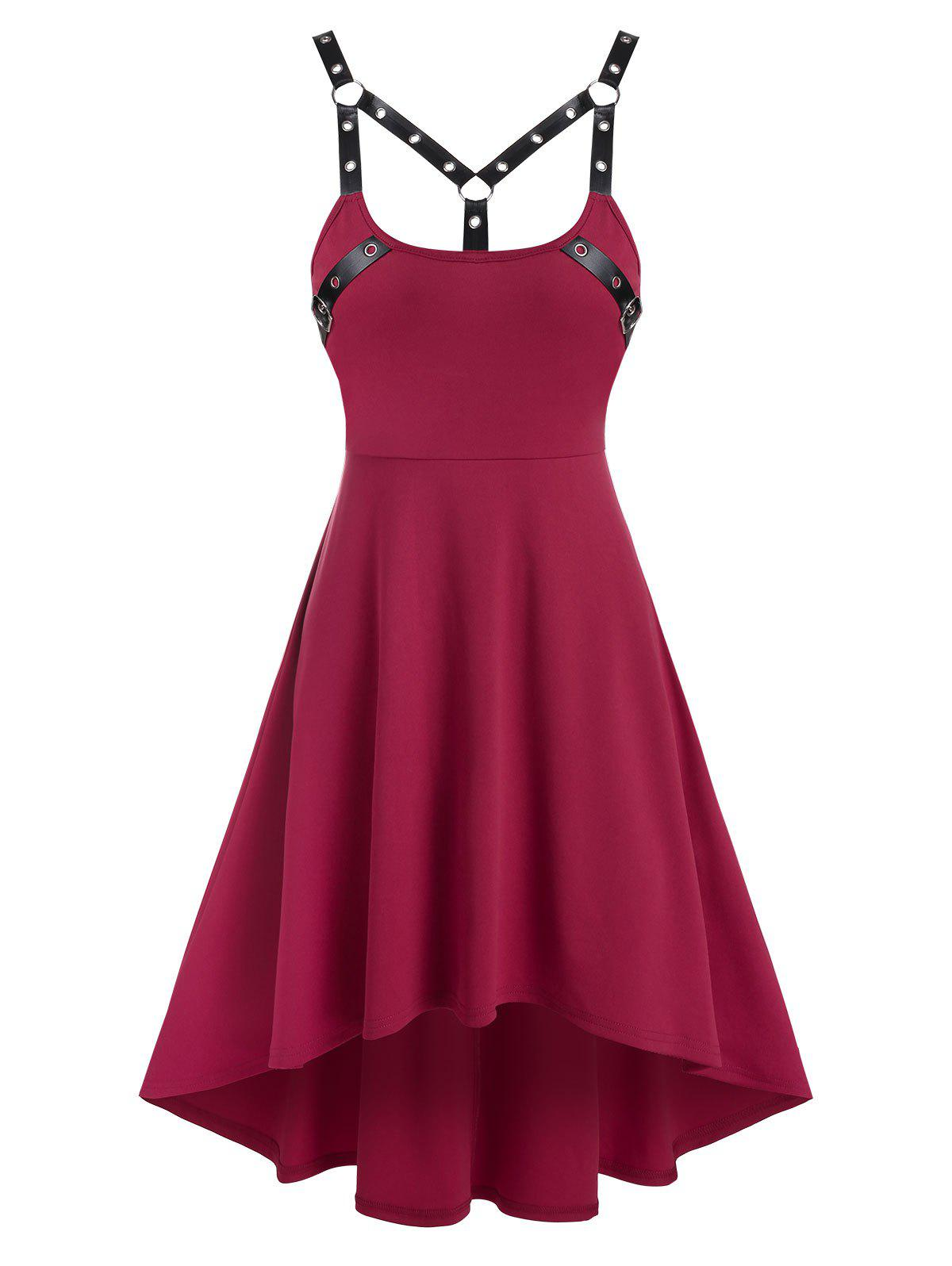 Online Sleeveless Harness Insert High Low Gothic Dress