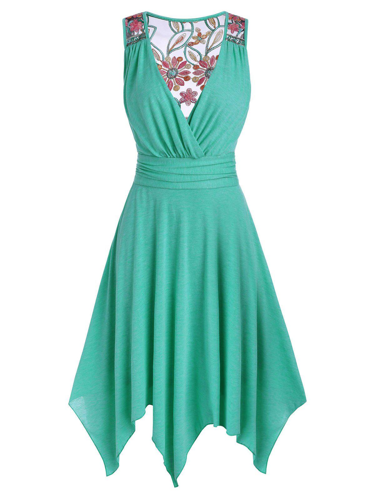 Affordable Flower Embroidered Mesh Panel Handkerchief Dress