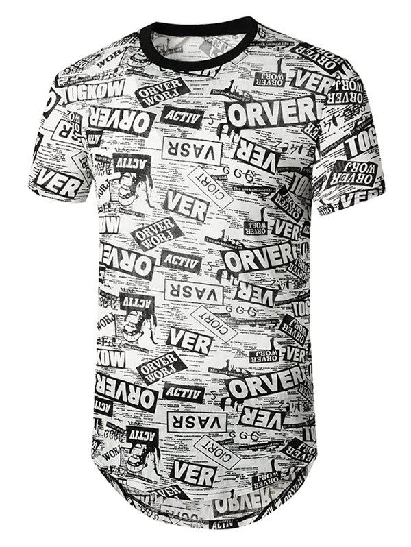 Affordable Newspaper Print Semi Sheer Longline Curved T Shirt