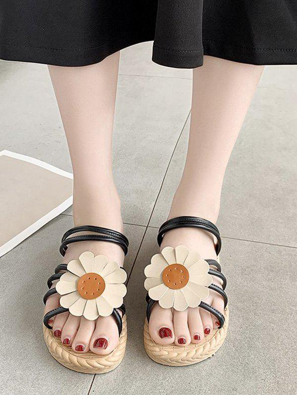 Trendy Sunflower Convertible Strap Flat Sandals